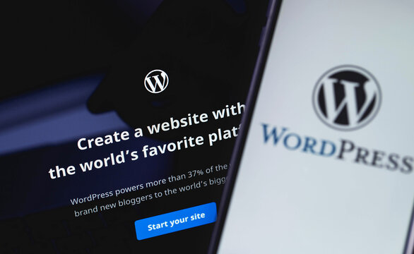 WordPress web page on the screen notebook and smartphone closeup. WordPress - open source site content management system. Moscow, Russia - June 24, 2020