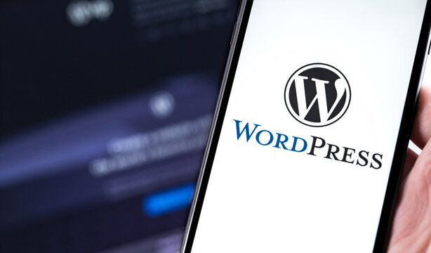 close up hand holding black smartphone with WordPress logo. WordPress - open source site content management system. Moscow, Russia - June 24, 2020