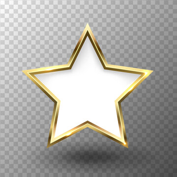 Abstract shiny golden star frame with white empty space for text, on transparent background, vector illustration.