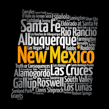 List of cities in New Mexico USA state, map silhouette word cloud, map concept background