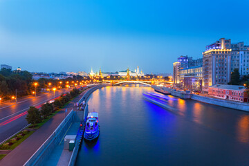Moscow city center in the evening with the Moscow river and the Kremlin citadel