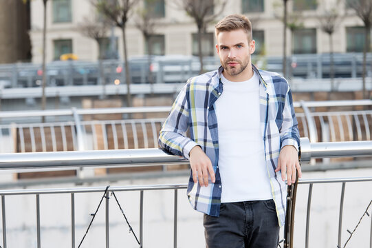 Casual summer wear. Handsome guy in casual style urban outdoors. Casual wardrobe. Menswear store. Fashion trends. Trendy style. Everyday clothes. Its all about you