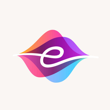Letter E with transparency sound waves logo design concept.