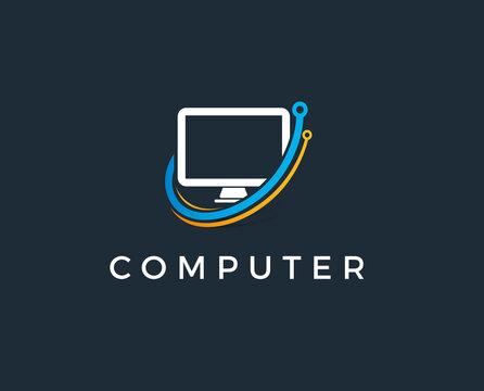 minimal computer logo template - vector illustration