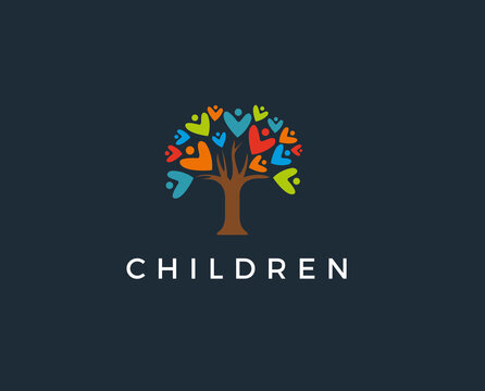 minimal tree people logo template - vector illustration