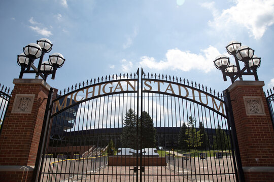 A view outside of Michigan Stadium on the University of Michigan campus amid reports of college football cancellation in Ann Arbor