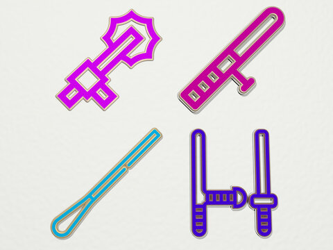 baton 4 icons set. 3D illustration. police and background