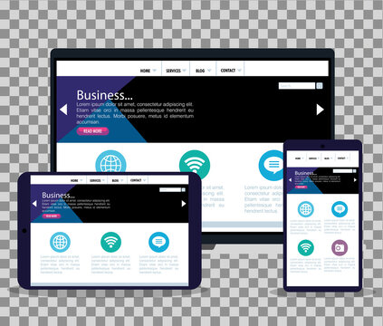 mockup responsive web, concept website development in laptop, tablet and smartphone vector illustration design