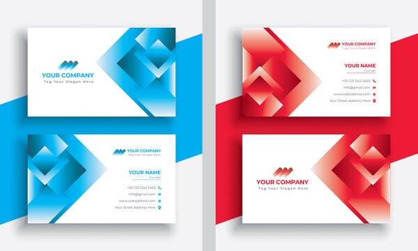 Modern Abstract Blue Colorful Business Card Template