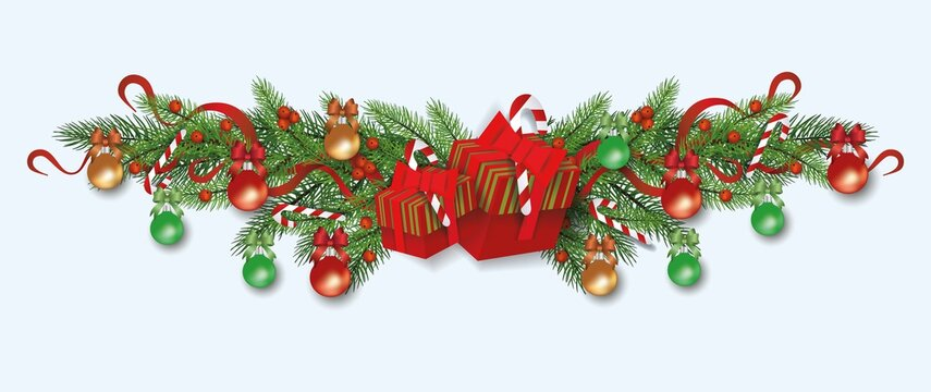 Christmas decoration and divider for winter celebration with xmas tree branches.
