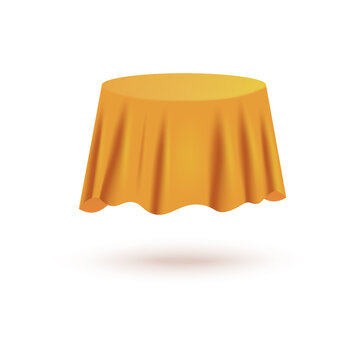 Table covered with yellow satin cloth 3d realistic vector illustration isolated.