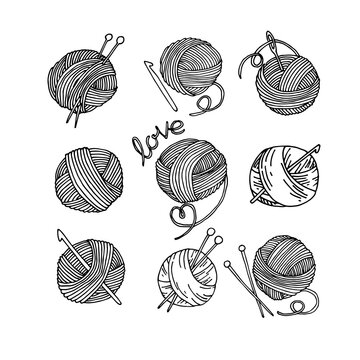 vector doodle style drawing, set of knitting wool balls with knitting needles and crochet hooks. knitting symbol, hobby, handmade, homework, needlework.