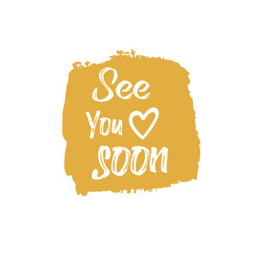 See you soon, vector orange brush stroke background texture for cloths, fabric, prints, textile.