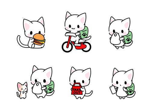 デリバリー・フードデリバリー・出前・配達・テイクアウト・ハンバーガーを食べる猫ちゃんのイラスト