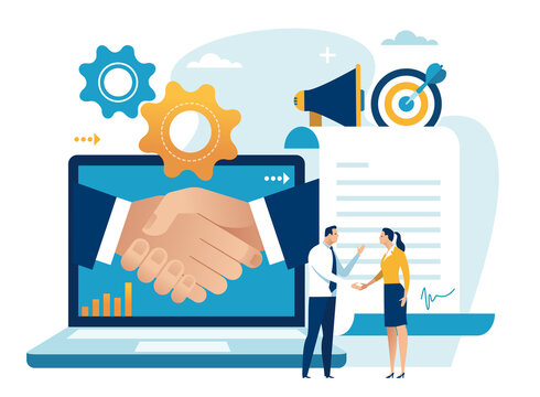 Agreement. The couple shakes hands to make a contract. Business vector illustration.