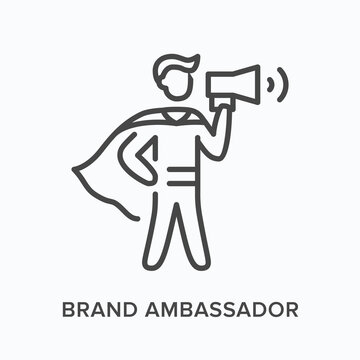 Brand ambassador flat line icon. Vector outline illustration of leadership, hero with megaphone. Influence thin linear pictogram
