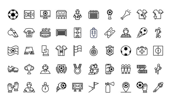 fifty soccer football sport set icons