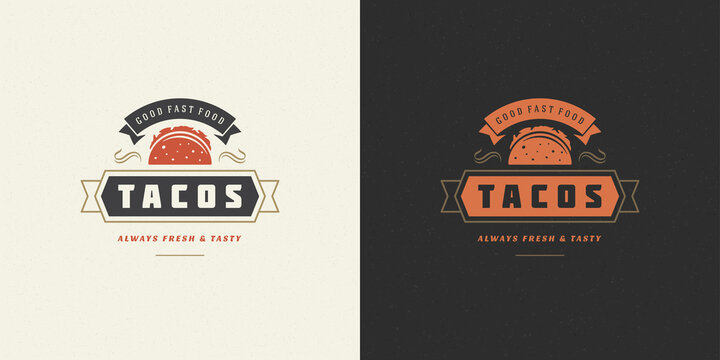Tacos logo vector illustration taco silhouette, good for restaurant menu and cafe badge