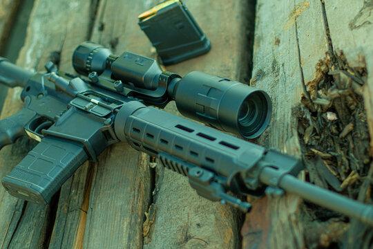 semi-automatic rifle, AR-10, night vision optics, thermal imager, ballistic calculator, soft focus, backlight, entourage