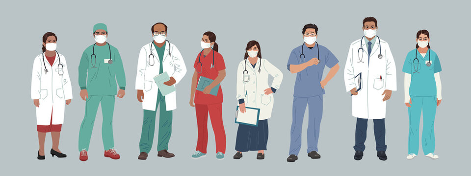 Indian Medics. Medical Characters. Doctor and Nurse wearing Face Mask, team of doctors concept, medical office or laboratory. Modern flat vector concept digital people vector illustration