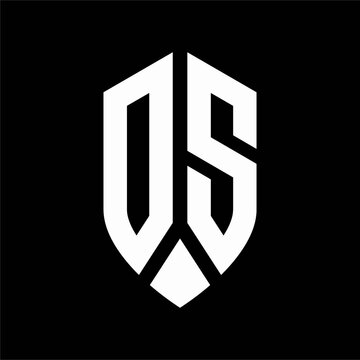 ds logo monogram with emblem shield style design template