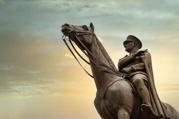 Bronze memorial statue of Mustafa Kemal Ataturk on his horse