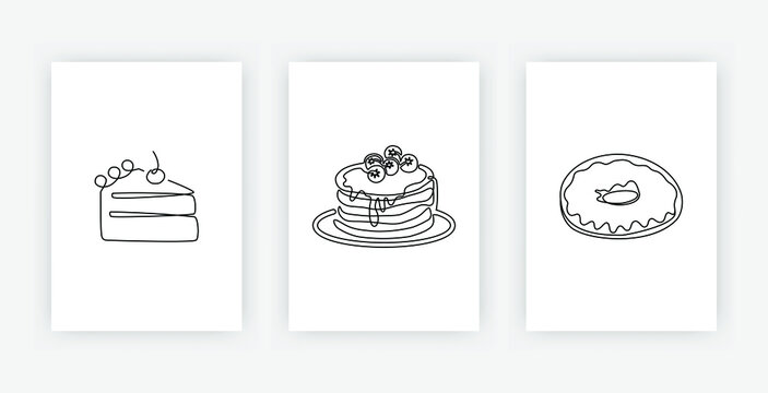 Continuous one line drawing of American pancakes piece of cake with cherry and donut. Modern poster set of bakery products isolated on white, dessert and cafe theme for logo. Vector illustration
