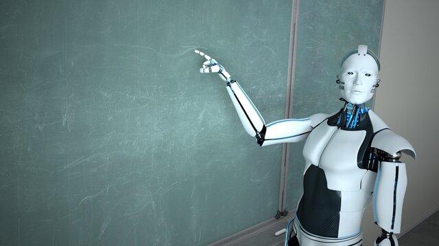 Humanoid Robot Chalk Board Hint Teacher