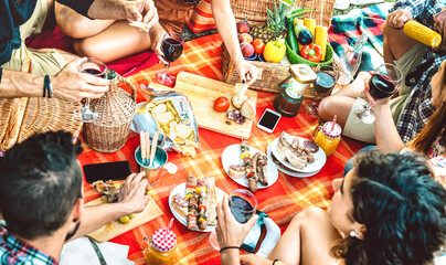 Friends having fun at bar-b-q pic nic party - Happy people millenial camping at open air picnic -...