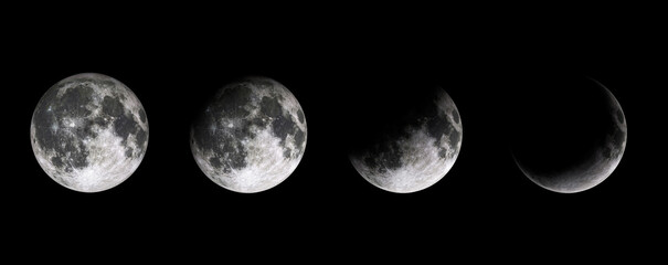 Moon phases on black baclground. Lunar phases of earth satelite. Half moon, quarter and full moon.