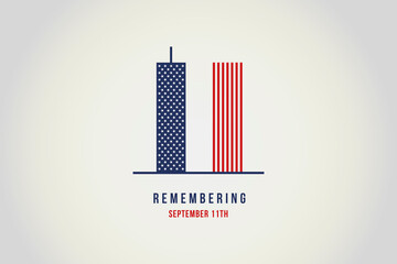 Remember 9 11. Illustration of the Twin towers representing the number eleven.  Fototapete
