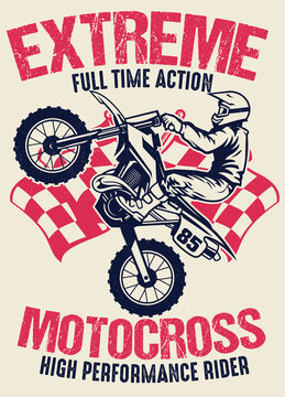 vintage shirt design of motocross