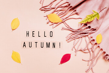 Hello autumn text on pastel background with cozy plaid and colorful leaves