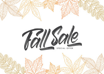Vector Handwritten calligraphic brush lettering of Fall Sale on foliage background. Discount special offer.