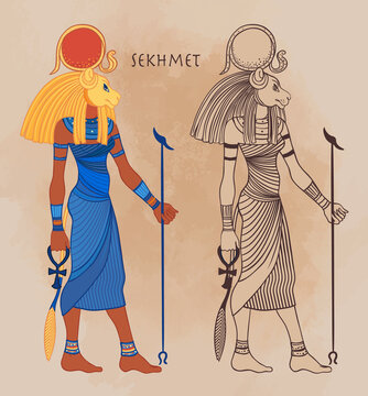 Sekhmet, the goddess of the sun, fire plagues, healing and war In Egyptian mythology. Vector isolated illustration. A woman with the head of a lion and the sun disk above her.
