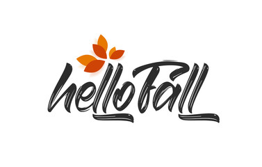 Vector handwritten calligraphic type lettering of Hello Fall with autumn leaves.