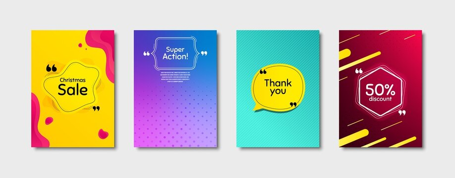 Super action, 50% discount and christmas sale. Dynamic cover design. Creative fluid background. Thank you phrase. Sale shopping text. Poster cover template with chat bubble. Vector