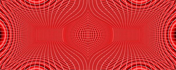 コンピュータグラフィックスで描いた赤色の歪んだシンメトリーな空間