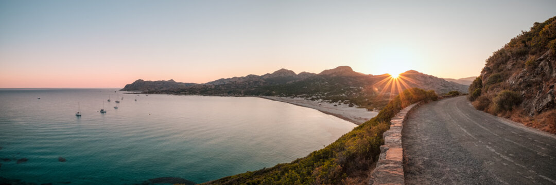 Dawn breaking at Ostriconi beach in Corsica