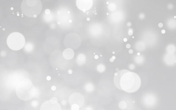 White lights bokeh,  snow fall, defocus glitter blur on gray background. copy space. illustration.