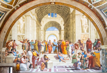 ROME, ITALY - MAY 07, 2019: School of Athens painting by Raphael, Vatican Museums, Vatican City
