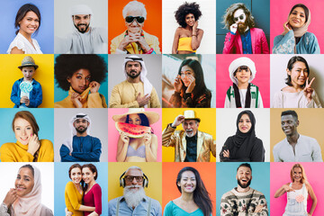 Fototapeta People collage. composit with faces and expressions of different people and ethnicites from the world. Half body portraits on colored backgrounds obraz