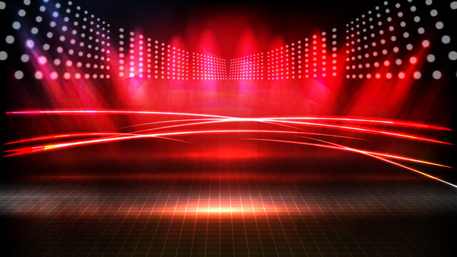 abstract futuristic background of red empty stage arena stadium spotlgiht stage background