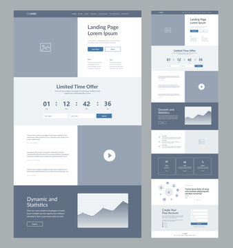 Landing page wireframe design for business. One page site layout template. Modern responsive design. UX UI website: home, offer, video, dynamic and statistics, advantages, testimonials, contacts.