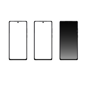 Realistic Samsung Galaxy Note 20. Set realistic smartphone. Phone Gradient black. Flat design, vector illustration on background.