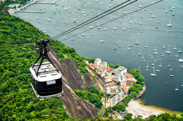 Gondola for Urca Hill and Sugarloaf Mountain in Rio de Janeiro, Brazil