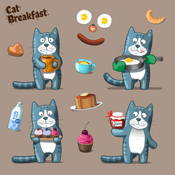 Cat Breakfast. Vector Clip Art