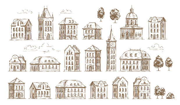 Hand drawn historic buildings set. Vintage sketch of architecture