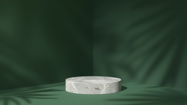 white Marble showcase podium for product placement in green natural shadow leaves background