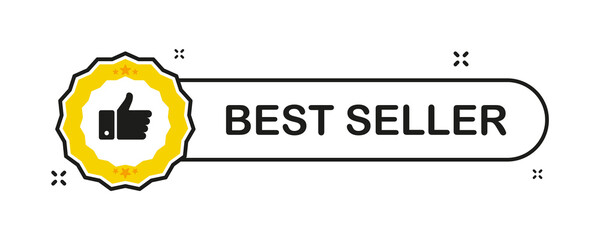 Recommended. Recommendation best seller sign. Sale badge. Thumb up emblem. Flat ribbon banner with recommended banner for promotion design. Vector illustration.